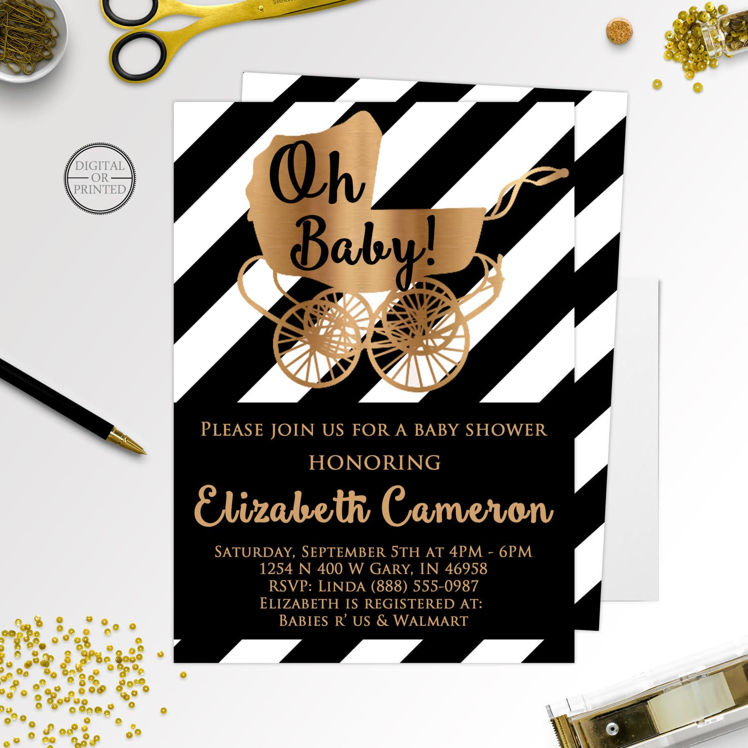 Black and White Baby Shower Invitations Black and Gold Baby