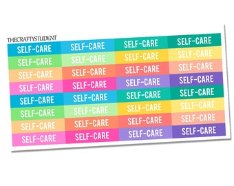 Self Care Headers Planner Stickers, Functional Stickers, Self Care Stickers, Mental Health Stickers