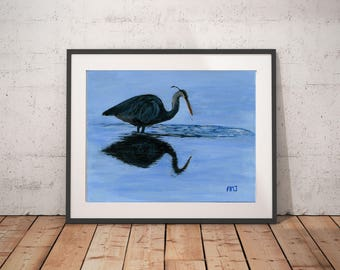 "Blue painting art wall print, Water reflection painting print, Bird art print gift, Art print girlfriend gift, ""Blue reflections"""