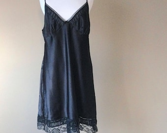 L / Satin & Lace Babydoll Nightie Slip Lingerie / Large / FREE USA Shipping