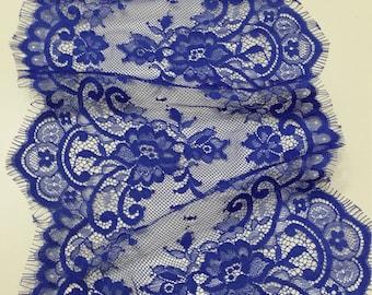 Royal blue lace Trim, French Lace, Chantilly Lace, Bridal lace, Wedding Lace, Garter lace, Evening dress lace, Lingerie Lace, EVSL097C