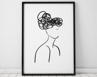 Female Silhouette Illustration INSTANT DOWNLOAD , Illustration Poster, Minimalist, Minimalist Art, Feminist Art, Black and White Poster