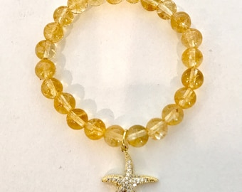 Citrine Stretch Bracelet with Gold Filled and Crystal Star Charm
