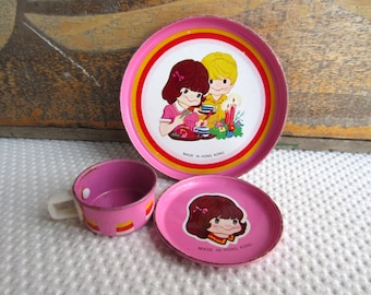 Vintage Cute Girl and Boy Childrens Play Dishes Kawaii made in Hong Kong
