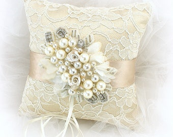Champagne Ring Bearer Pillow Gold Wedding Ring Pillow Lace Ring Pillow Personalized Pillow Beaded Ring Pillow Elegant Unique Ring Cushion