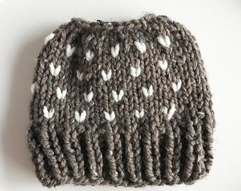 Messy Bun Hat Chunky Fair Isle Beanie | THE KINSIE in Barley and Fisherman