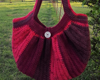 Crocheted Swag Bag, Red and Pink Purse with Casual Style Shoulder straps and a pearl button with looped closure, Wide bottom to hold it all