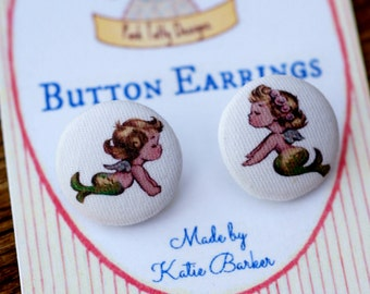 Vintage Inspired 1940's Little BFF Baby Mermaids Button Earrings (09)