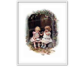 Antique Childs Print Kids Girls Blowing Bubbles Victorian Illustration Storybook Picture Book Bedroom Playroom Vintage Wall Art Decor vc 402