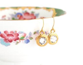 April Birthstone Earrings - April Birthday Gift - Birthstone Dangle Earrings - Birthday Stone Jewelry - Custom Birthstone Earrings