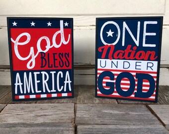 HL Patriotic Decor - One Nation Under God Bless America Box Signs 2pc.