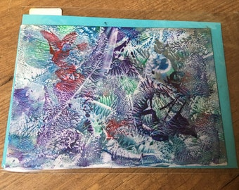 Free your inner child - red butterflies- Encaustic Postcard 12