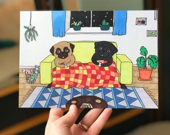 Pug Illustration A5   Pug Card   Postcard   Gift for her   Pug Gifts   Dog Drawing   Pugs Lover gift  Black Pug Lover   Nais Products