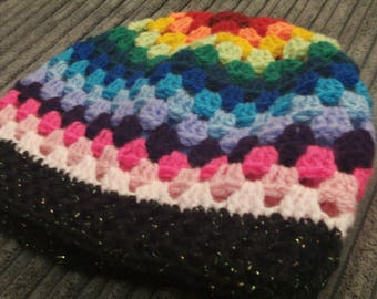 Striped Handmade Slouch Hat - Crochet Granny Square Hat