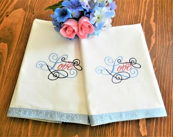 NOS Love Pillowcases, Wedding Pillowcases, Anniversary Pillowcases, Bridal Shower, Never Used, White Percale Pillowcases