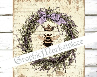 Lavender Bee Herbs Lavande Large Image Instant Download Vintage Transfer Fabric digital collage sheet printable No. 1285