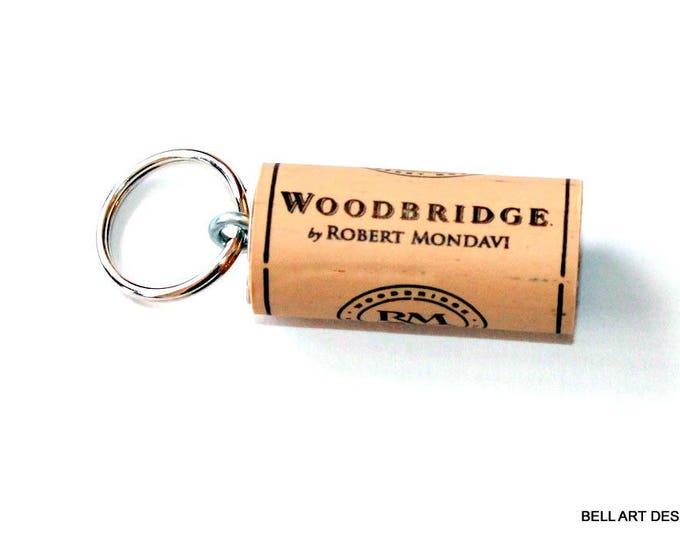 WINE CORK KEYCHAIN, Woodbridge, Robert Mondavi, Floating, Multiple Key, Bell Art Designs, KC0190