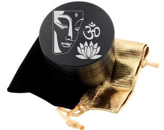 """Om Buddha Laser Etched Design 2.5"""" Large Size Herb Grinder Item # ETCH-G013017-119"""