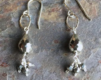 Pyrite sterling silver dangle earrings with swarovski beads