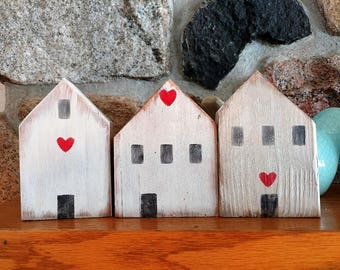 Set of Three Simple White Little Wood Houses, Rustic, Handmade, Mothers Day Gift, New Home