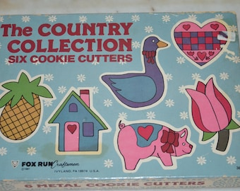 Vintage Cookie Cutters Set: The Country Collection in Original Box