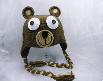 READY TO SHIP Crochet animal hat, bear hat,  newborn bear hat, teddy bear hat, animal hat, crochet hat, Size Newborn