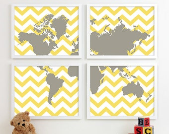 travel nursery art, nursery map of the world map art, baby boys room, explore adventure travel theme nursery wall decor, playroom decor