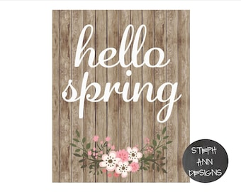 Hello Spring Printable Sign-Printable 8x10 Decor