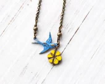 Bird and flower necklace, blue bird necklace, yellow flower necklace, boho style, layering necklace, nature necklace, gift for nature lover
