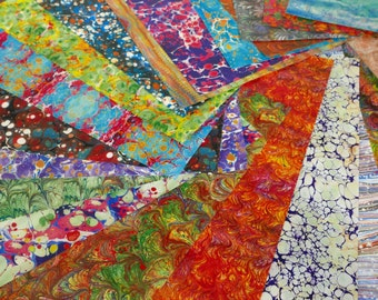 9 printed sheets illustrated with marbled paper - 24 different designs