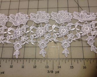 "White Venice Lace Trim 5"" wide for Bridal, Apparel or Crafts  Item #2898"