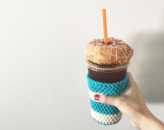 aqua and white iced coffee cup cozy. coffee cup cozy. Crochet coffee cozy. cotton cup cozy. Eco friendly cup sleeve. coffee lover gift
