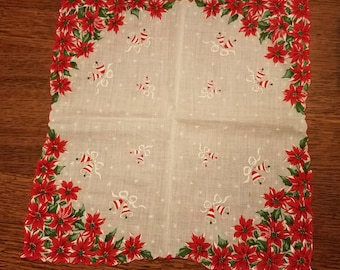 Large Poinsettia and Bells  Christmas Hanky