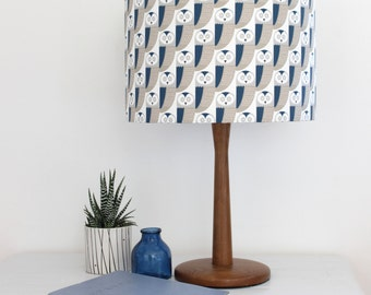 Blue and Grey Owl print Drum Lampshade Lamp Shade Lightshade