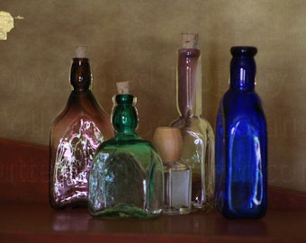 Collection of Vintage Bottles Photograph Multicolored Aged Photography by Colleen Cornelius Bring the Outdoors In Zen Home Decor