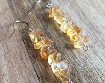 Raw Citrine Earrings - Raw Crystal Earrings - Raw Stone Earrings - Citrine Jewelry - Citrine - November Birthstone Jewelry