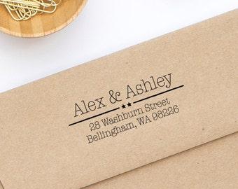Return Address Stamp, Custom Address Stamp, Wedding Stamp, Self-Inking Address Stamp, Personalized Address Stamp, Stamp Style No. 91