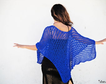 Loose Knit Poncho, Boho Poncho, Summer poncho, Women poncho, Hand knitted poncho, Cobalt blue poncho, Ultramarine poncho, Spring Poncho,