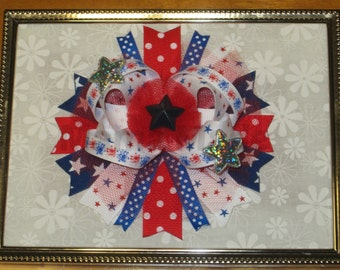 4th of July Bow Patriotic Bow Red White and Blue Bow 4th of July Hairbow Star Bow Patriotic Hairbow Red White Blue Bow