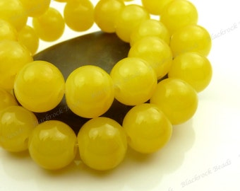 Golden Yellow and Subtle Orange Spotted Round Glass Beads - 10mm Smooth Mottled Beads, Shiny Colorful Bohemian Beads - 20pcs - BL16