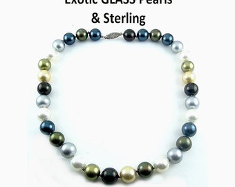 Exotic Faux South Seas COLORED GLASS Pearl Necklace, Sterling Clasp