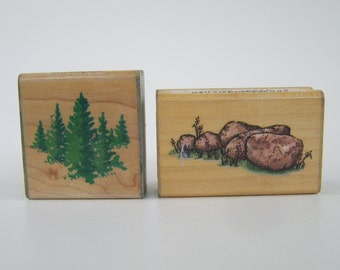 Rubber Stamp Lot Pine Trees Rocks Comotion Stampendous Nature Woodland