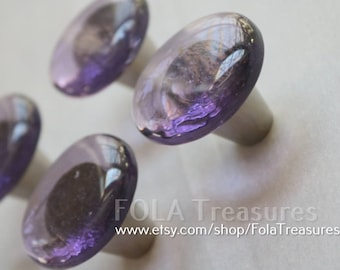 Purple glass knobs Etsy