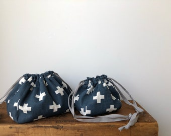 Navy Blue Swiss Cross Kinchaku Pouch, Drawstring Bag, Lunch bag, Knitting Crochet Project bag, Cosmetic pouch