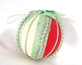 Vintage Christmas Ornament, Red, Ivory, Mint and Silver Ribbon Ball from Japan