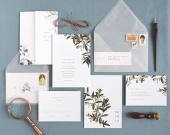 Oliva Wedding Invitation & Correspondence Set / Botanical Olive and Olive Branch Vintage Italy Inspired / Sample Set