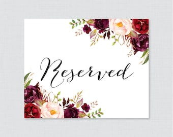 Printable Wedding Reserved Signs - Marsala Floral Reserved Seating Sign for Wedding, Instant Download Reserved Table Signs Pink Flowers 0006