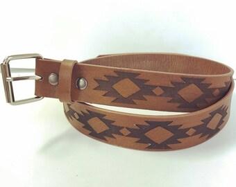 Genuine Leather Aztec Design Belt