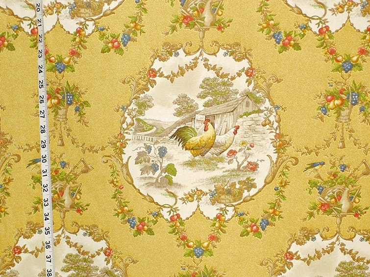 Yellow Rooster Fabric French Country Chicken Toile Interior