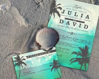 Beach Wedding Invitation, Tropical Beach Wedding Invite Destination Wedding Digital Stationery DIY Beach Wedding Invitation Ocean Palm Trees